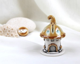 Honey-Turquoise House of tiny fairies -- unique Hand Made Ceramic Eco-Friendly Home Decor by studio Vishnya