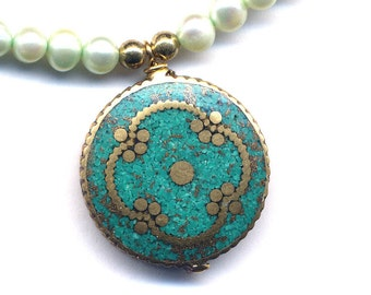 Nepal Necklace, Tibet Pearl Necklace, Nepal Pendant with Turquoise Inlay, Turquoise Mandala Necklace, Nepal Jewelry by AnnaArt72
