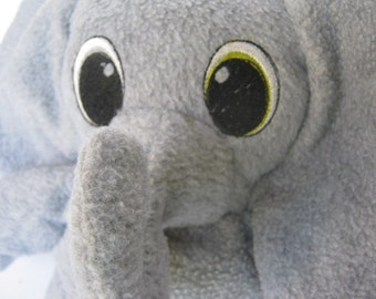 Soft Wide Eyed Gray Elephant Plushie Stuffed Animal Embroidered Eyes Various Colors Child Travel Toy   Nursery No Buttons Washable