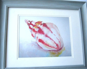 Framed Seashell Ocean Limited Edition Print From Original Watercolor Painting Signed by  Artist Blue Frame  Texas Artist, GJ King