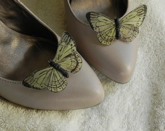 Green Butterfly Shoe Clips