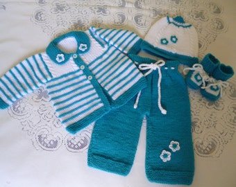 Knitted Newborn Outfit. Newborn Four Pces. Set. Coming Home Ensemble.Antiallergic Set.