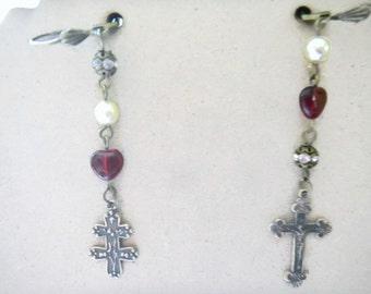 Cross Earrings, Crucifix Earrings, Joan of Arc Cross, Bronze Crucifix, Lorraine Design Crosses, Christian Earrings