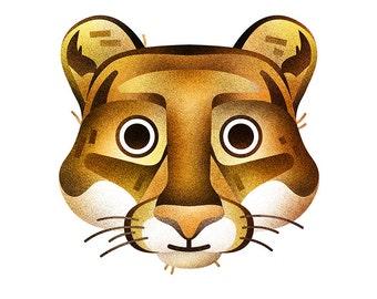 Cougar print - 8x10 geometrical modern mountain lion print