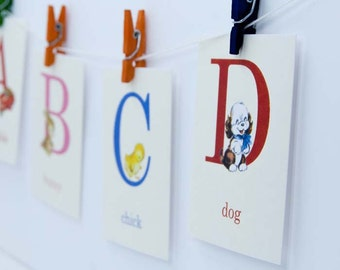 Baby ABC Alphabet Retro Style Flashcards - 4x6 OR 5x7 - Set of 26 | ABC Flash Cards, Alphabet Flash Cards