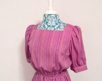 Vintage 1980's dress // striped purple pink aqua // 1980's puff sleeve