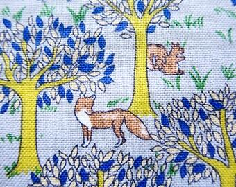 Animal Print Fabric By The Yard - Cotton Fabric - Woodland Forest on Gray - Half Yard