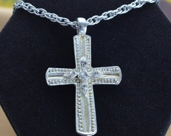 "On sale Pretty Vintage Silver tone, Rhinestone Cross Pendant Necklace, 24"", ""Sarah Coventry"" (AR12)"