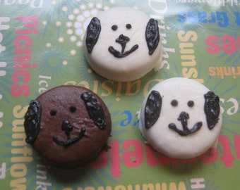 One dozen puppy dog design hand dipped and hand painted chocolate covered sandwich cookie oreo party favors
