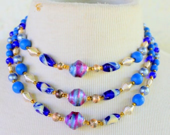 1950s Multi Strand Statement Necklace Blue Purple Japan Signed Vintage