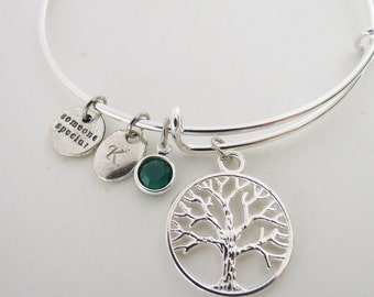 Personalized Tree of Life Bangle & Birthstone,Family Bracelet,Birthstone Bracelet, Expandable Charm Bangle,Sacred Tree Bracelet,Gift for Mom