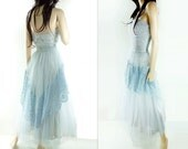 1950s Prom Dress, Vintage 50s Dress, Baby Blue Lace Dress, 50s Tulle Dress, Tulle and Lace, Strapless Dress, Light Blue Dress, m