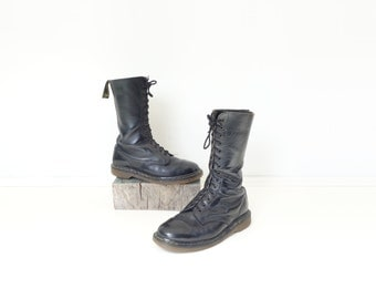 Vintage Doc Martens Size 10 Women The Original Black Lace Up Boots High Top Docs Black Leather Boots 15 Eyelet Docs Calf High Boots Women 10