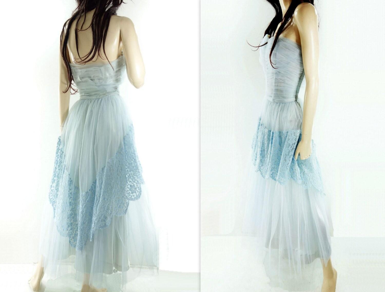 1950s Prom Dress Vintage 50s Dress Baby Blue Lace Dress 50s