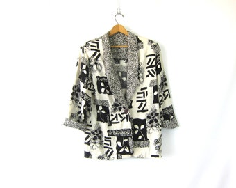 Black & White Blazer 90s Graphic Abstract Floral Print Slouchy Coat Fashion Statement 1990s Button Up Jacket Vintage Womens Size 7 8 Medium