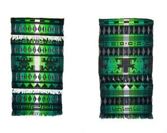 Vintage Handmade Open Weave Ethnic Native Long Wall Hanging FROGS Large Green Black Fringed Aztec Loomed Woven Art Wall Tapestry Hanging