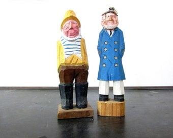 Vintage carved wooden Sailors tall wood Captain Men primitive folk art Beach figurines Nautical wood sculptures Home Decor Set of 2
