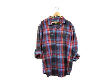 Vintage Red Blue Plaid Flannel Shirt ZIPPER POCKETS Oversized Grunge Shirt Button Up Long Sleeve Boyfriend Shirt Vintage Mens size XL