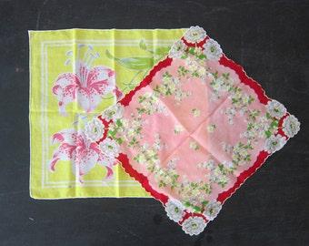 Vintage Hankies Yellow & Pink Ladies Handkerchiefs Vintage Flower Print Handkerchief Collection Pair 2 women's Wedding gift