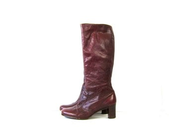 70s tall leather boots stacked wooden heel Zipper Fashion boots 1970s boho riding boots COWGIRL Red Brown boots Womens 9 - 9.5