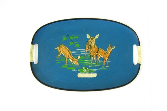 Large blue Deer Platter with handles Vintage Mod Table decor blue and green TV Tray Made in Japan