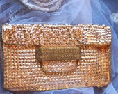 RETRO 1950s Vintage Handbag Gold Sequins and Glass Mini Beads Cocktail Bag super Hollywood Diva