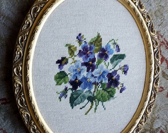 "Violets and Forgett me Not  Large Art Hand  Needlepoint Picture  from 1970 American Art Folk   17"" X 13 1/2""  On SaLe Now"