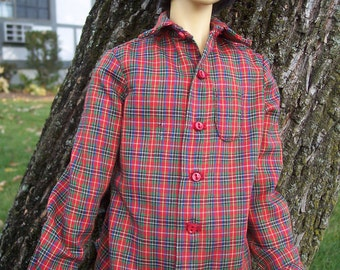 SALE - Red Cotton Plaid Shirt for 70 cm Slender BJD Boy Dolls