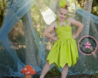 Disney Inspired Tinker Bell Halter Dress for Infants, Toddlers, Girls Sizes 12 mos to Size 10
