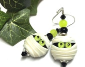 Halloween Earrings Mummy Earrings Spooky Earrings Lampwork Earrings Holiday Earrings Artisan Earrings Glass Earrings Fun Earrings