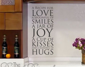 Recipe for Love -Kitchen wall decal- Removalbe wall art with laser cut letters