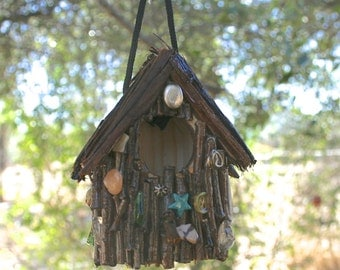 Hanging Twig Birdhouse Rustic Twig & Bark Covered Small Birdhouse Oak and Cedar Covered