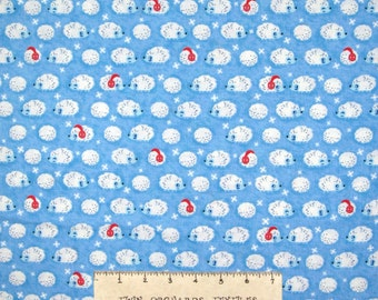 Christmas Fabric - Winter Hedgehogs on Light Blue - Timeless Treasures YARD