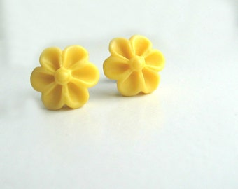 Titanium Earring Posts - Yellow Flowers - Contains No Nickel - Great for Sensitive Ears