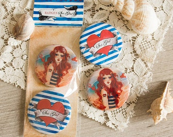 Badges Set - Button- Pirate - heart - Tattoo - Sea Girl