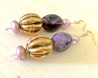 Statement Dangle Earrings / Amethyst Nugget - Elegance Classy Fashion