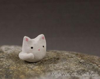 Little Kitty - Terrarium Figurine - Miniature Ceramic Animal - Hand Sculpted