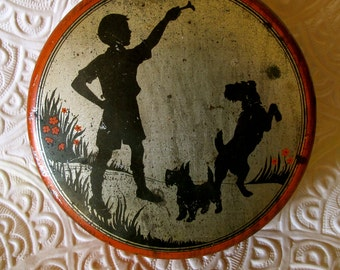 Scotty Dog Tin, Independent Can Co. Rare Tin,  Old Litho Tin, Scotty Dog By Boy Tin,  Red Black Gold Round Tin, Litho, Silhouette Scene Tin