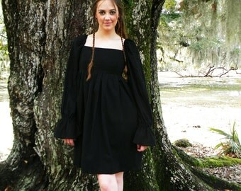 Black Dress, Gauze Dress, Bohemian Clothing, Festival Dress, Boho Dress, Summer Dress