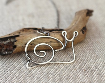 Snail Necklace. Sterling Silver. Oxidized. Wire Jewelry.