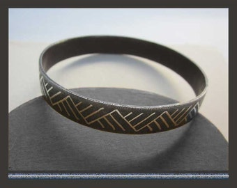 STEEL Yourself…Industrial Modernist Geometric Graphic Design Bangle Bracelet,Vintage Jewelry,Unisex