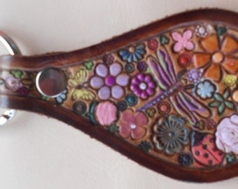 Leather Key Fob with Flowers Dragonfly Butterfly  Lady Bug and  Brown Border