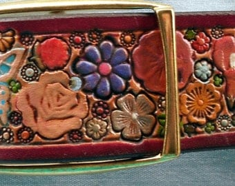 Pastel Flower Garden with Butterflies Leather Belt with Maroon Border made in GA USA