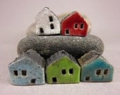 5 Saggar Fired Miniature House Beads...White Red Speckled Blue Green Lagune