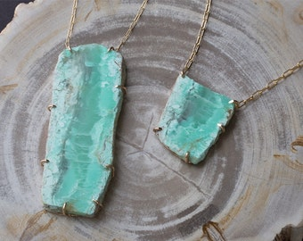 Custom Raw Chrysoprase Pendant Necklace