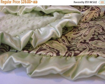 ON SALE Sage Green and Brown Paisley Satin Minky Baby Blanket for Boy - personalized