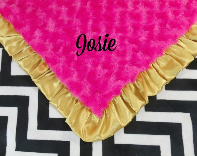 Black Chevron, Fuchsia Pink and Gold Minky Baby Blanket, 3 SizesCan Be Personalized