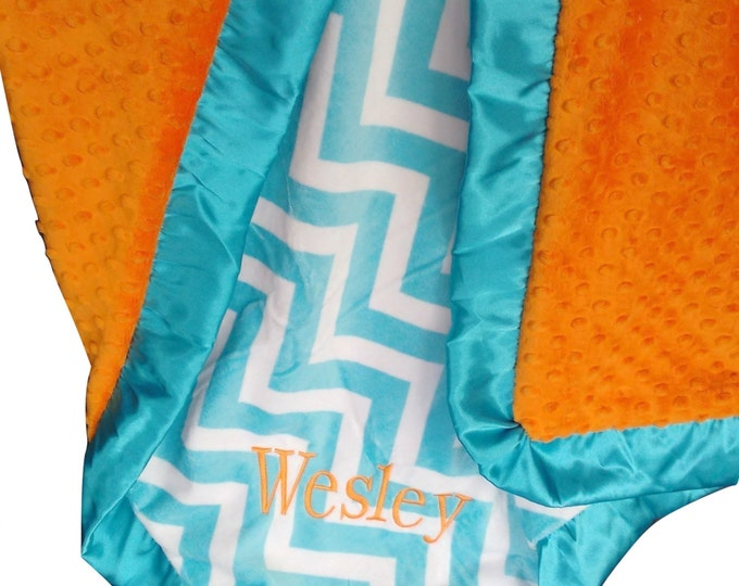 Aqua Turquoise Chevron and Orange Minky Blanket  - Crib Blanket, Baby Blanket, or Lovey in Light Turquoise and Orange