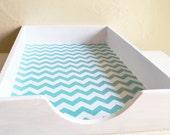 White Farmhouse Style Shabby Chic Wood Paper Tray Desk Organizer Turquoise Chevron