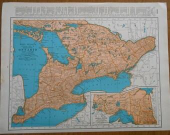 Vintage Map Ontario Canada, 1937 antique Map